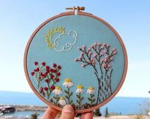 Sun and Flowers, Wall or Door Hanging Embroidery Hoop Art, Fabric Wall Hanging, Needlepoint, Hand Embroidery, Stitched Art
