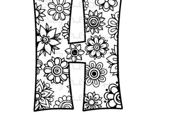 Letter H Alphabet Flowers SVG / JPEG / PNG /pdf / use with Silhouette Studio and Cricut Design Space - Commercial Use - Adult Coloring Page