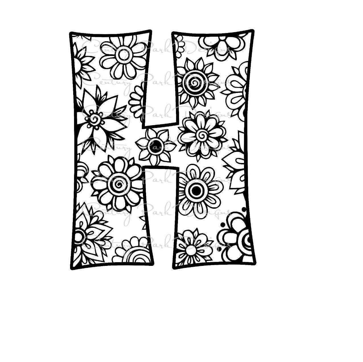 letter h alphabet flowers svg jpeg png pdf use with