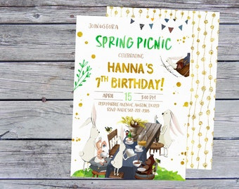 Spring Birthday Invitation, Spring Picnic Invitations, Bunny Invitations, Bunny Birthday Invitation, Bunny Invites, Picnic Invitation,