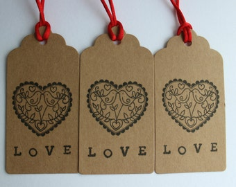 Gift tags for valentines day gifts, anniversary presents and wedding favours