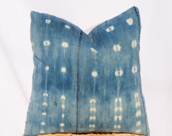 Indigo Mudcloth Pillow / 18x18 / Shibori, Tie Dye
