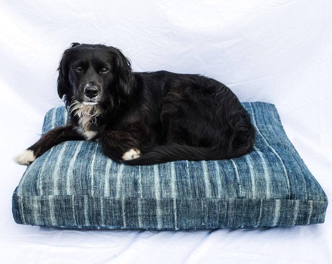 Indigo Striped Mudcloth Dog Bed // Medium // bohemian pet bed shibori pillow