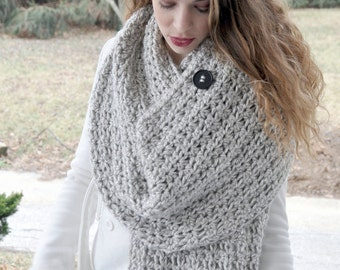 Crochet Pattern - Chunky Blanket Scarf - Crochet Wrap or Shawl - Unisex Scarf - Sizes Preschool to Adult - Interlude