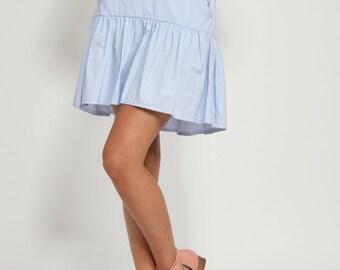 Light blue Mini skirt, Summer skirt, High waist mini skirt, Blue skirt, side pockets, short skirt, casual skirt, ruffled skirt, zipper back