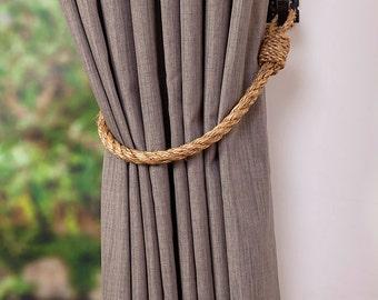 Manila Rope Curtain Tie-Backs Thin 1.4 cm Nautical Hold-backs Rustic Natural Rope Tiebacks