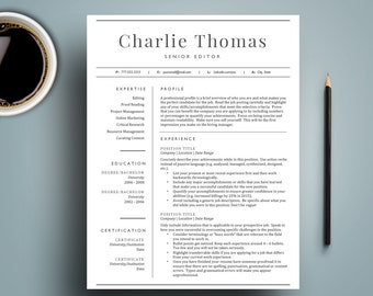 Professional Resume Template for Word (1 & 2 Page Resumes, Cover Letter included), CV Template | Classic Resume Design | Instant Download