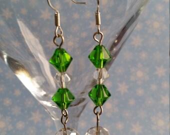 Green & White Earrings, Holiday Earrings, Festive Jewelry