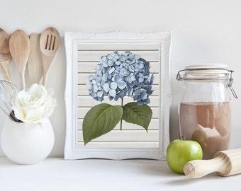Hydrangea Print, printable, hydrangea art, shiplap wall decor, botanical print, botanical art, botanical art prints, farmhouse, cottage