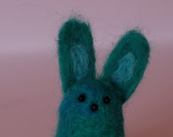 Needle Felted Bunny Rabbit. Cute quirky handmade unique character.Turquoise blue. Iwia!