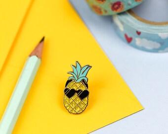 Pedro the Pineapple Lapel Pin | Cute enamel pin hat badge