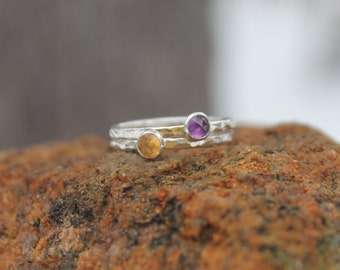 Citrine and Amethyst stacking ring set in sterling silver * Hammered stacking rings
