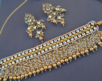 Gold Kundan Pearl Choker Set, Indian Wedding Jewelry, Kundan Jewelry, Sterling Silver Choker Statement Necklace, White Seed Pearl Clusters,