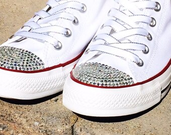 White Wedding Converse Shoes. Rhinestone Bling Shoes. Low Top Custom Converse. Flat Shoes. Dress Shoes. Prom, Brides, Bar-Mitzvah, Sweet 16