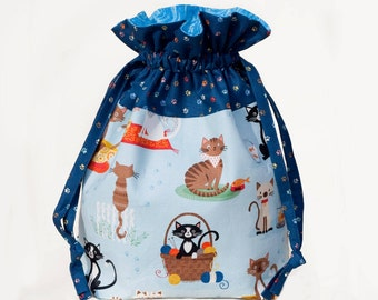 Cute Cats Drawstring Bag, Kitty Project Bag For Crochet and Knitting, Large Drawstring Pouch