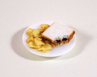 Peanut Butter and Jelly Sandwich with Potato Chips; Lunch Plate; Dollhouse Food Miniatures; 1:12 Scale