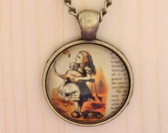 Alice in Wonderland necklace - silver or bronze
