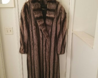 Ladies silver tip Raccoon full length coat