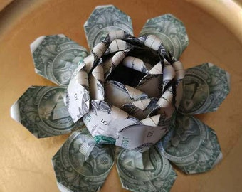 Money Origami Lotus Flower Water Lily, U. S. Dollars Graduation Gift of Money, Birthday Mother's Day Father's Day All Occasion Gift