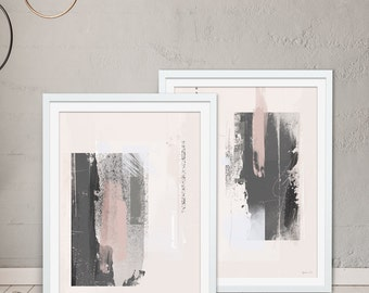 Abstract Framed Prints  - Grey Prints. Pink Prints. Set of 2 by Green Lili. Digital Art. Wall Art. Abstract Gift. Interiors.