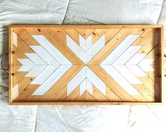 Wood Serving Tray | Geometric Serving Tray | Wood Breakfast Tray | Modern Wood Tray | Wood Wall Art | Wood Tray | Geometric Navajo
