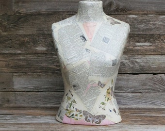 Vintage Counter Top Mannequin Dressform-Decoupage Dress Form Tabletop Store Display