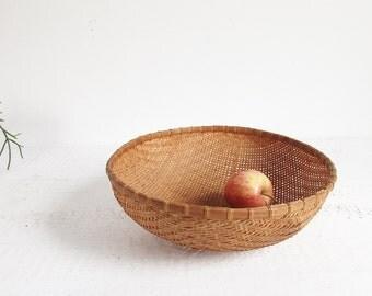 vintage bamboo basket bowl / large round woven basket