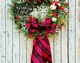 Chalkboard Christmas Front Door Wreath, Red and Black Holiday Wreaths, Snowman Door Wreaths, Christmas Door Wreaths, Holiday Wreaths    W249