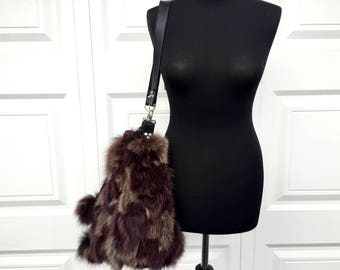 Fox Fur and Black Leather Bucket Bag with Drawstring Top & Shoulder Strap - Soft Leather and Real Fur - Pompom Embellishment, Phone Pocket