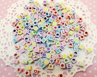 200pc Alphabet Assorted Color 6mm Beads Acrylic Kawaii Charm Beading Pendant Decoden Craft DIY