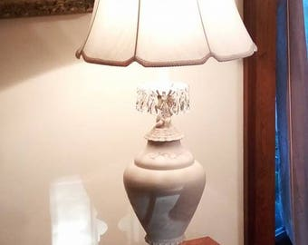 Vintage Updated  Hollywood Regency Cherub Table Lamp with Crystals in Cream