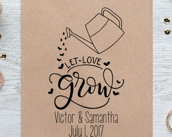 Let Love Grow Rubber Stamp, Wedding Favor, Seed Packet, Baby Shower, Gift, Engagement, DIY Party