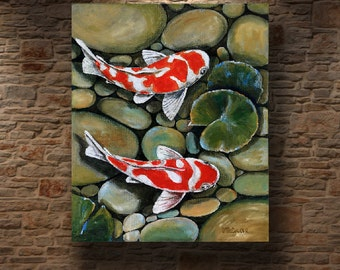 Koi Fish Art Etsy