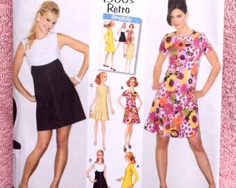 Newer 1960s Retro Go-Go Dress Pattern / MOD 60s Dress / Throwback Swing Dress / Simplicity 3833 Sewing Pattern - UNCUT