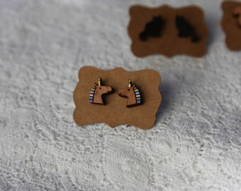 Unicorn earrings, hand painted wooden