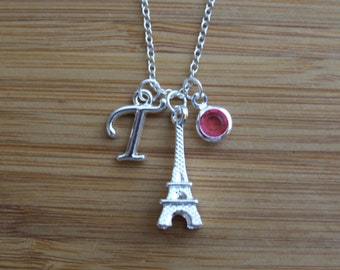Paris Lover Necklace, Eiffel Tower Tower Necklace, Initial Necklace, Birthstone Necklace, France Lover, Mother Daughter Best Friend Gift