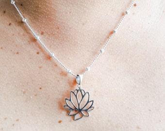Dainty Lotus flower pendant Silver Lotus Flower Pendant Lotus Flower Necklace Lotus Flower Jewelry Yoga Jewelry Lotus Flower Free shipping