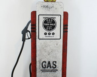 Deco sign painted metal fuel pump