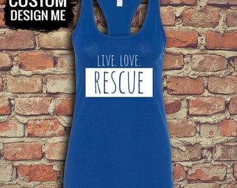 Adopt Rescue Love Repeat - Mad Dog Womens Racerback Tank Pet Tag - Custom Racerback - Gym Tank Top - Gym Shirts - Workout Tank - Pet Lover