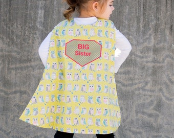 Big Sister Announcement - Superhero Child Capes - Big Sister Gift - Personalized Pretend Play - Big Sibling Gift - Owl Cape - Girls Cape