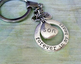 Son Keychain, Forever In My Heart Son Gift, Personalized w-Letter Charm, Engraved Son Heart, Son Graduation Gift, Son Birthday Gift
