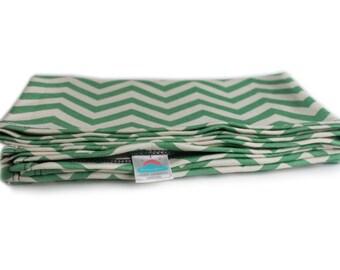 "24"" x 40"" green chevron stripe organic cotton t-shirt hair towel"