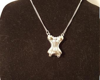 Steampunk Corset Pendant, Silver Finish on Silver Finish Chain