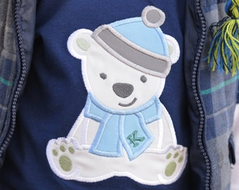 Boy's Winter POLAR BEAR shirt Personalized Monogram Initial Blue Toddler Boy