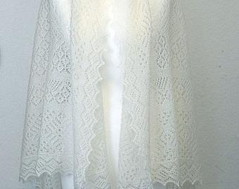White lace shawl for dresses, Orenburg luxury shawl, Hand knit silk shawl, Gift for women