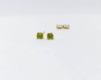 Peridot earrings, peridot studs, 14k gold peridot earrings, gold peridot stud earrings, gemstone earrings, 14k gold peridot studs, peridot