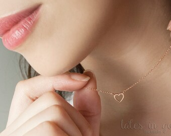 Gold Heart Necklace, Rose Heart Pendant, 14k Gold Necklace, Rose Gold, Women's Necklace, Gold Charm Necklace, Gift For Her, Dainty Necklace