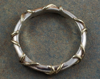 Designer Brian Bergner Vintage Sterling Silver with Gold Accents Bangle Bracelet. FREE SHIPPING!