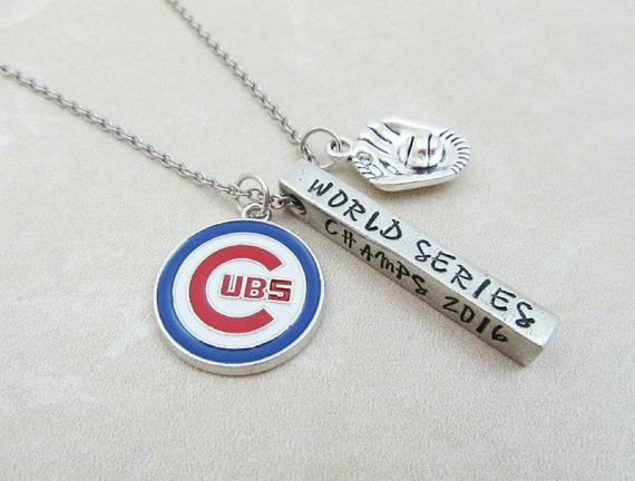 Chicago Cubs Necklace - World Series 2016 - MLB Baseball - Gift For Her - Hand Stamped Jewelry - Cubs Fan - Cubbies