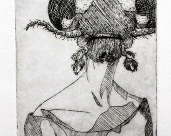 Ladybug Drypoint Print